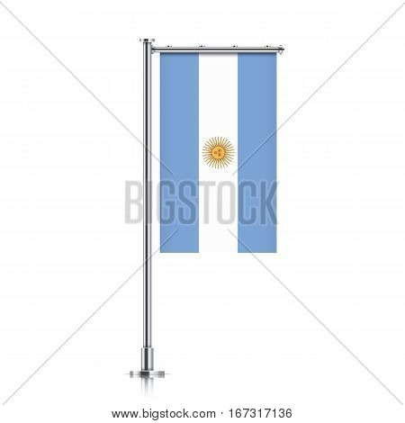 Argentina vector banner flag hanging on a silver metallic pole. Vertical Argentina flag template isolated on a white background.