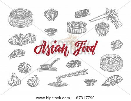 Sketch asian food collection with elements of chinese japanese and indonesian national culture isolated vector illustration