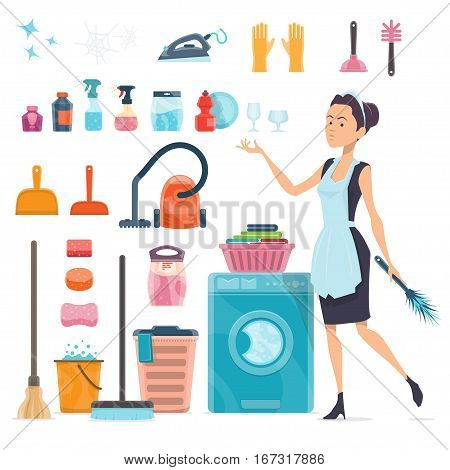 Cleaning elements collection with maid  household supplies equipment and tools isolated vector illustration