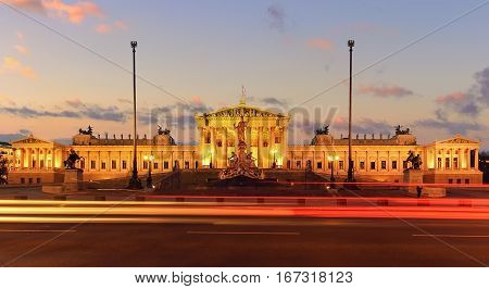 Parlament of Austria on sunset in central of Vienna. Austria. Europe.