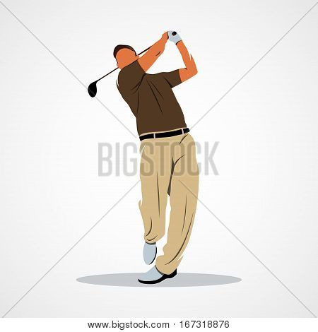 Abstract golf player, kick the ball on a white background. Vector illustration.