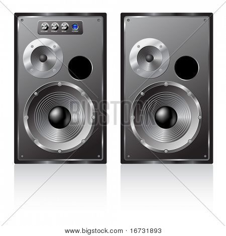 Vector illustration of a pair loudspeakers.