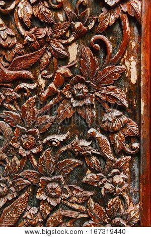 Flowers and Birds Pattern on Wooden Door