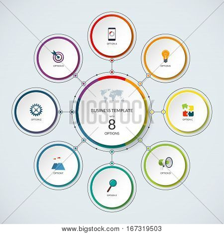 Infographic circle. Modern minimalistic template with 8 options. Vector banner, what can be used as circular chart, cycle diagram, graph, workflow layout for report, business presentation, web design.