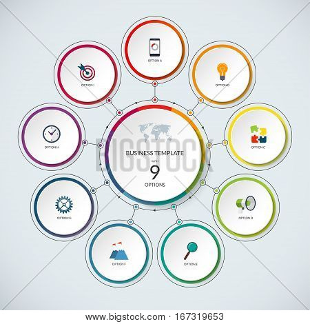 Infographic circle. Modern minimalistic template with 9 options. Vector banner, what can be used as circular chart, cycle diagram, graph, workflow layout for report, business presentation, web design.