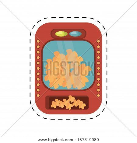 popcorn machine fast food movie cut line vector illustration eps 10