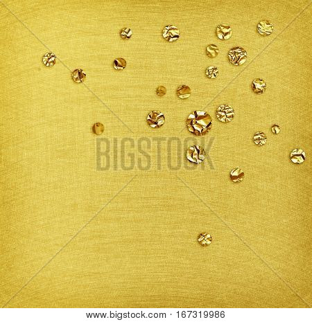 Gold steel brushed texture and foil drops for background