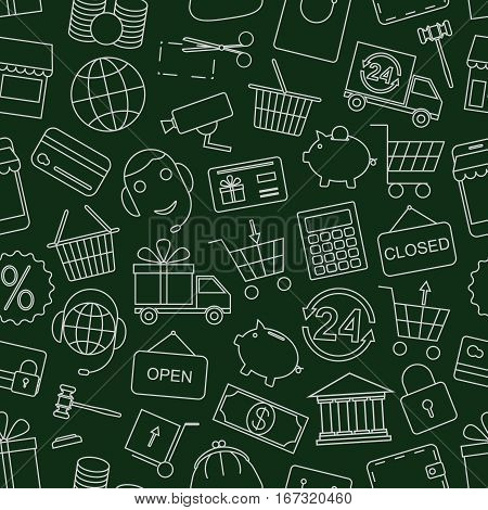 Seamless pattern business, Finance and money-vector illustration. Dark green background. Online shop, video surveillance and call center.