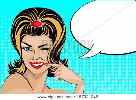 Give Me The Smile Pop Art Comic Style Woman Portrait With Speech Bubble, Vector