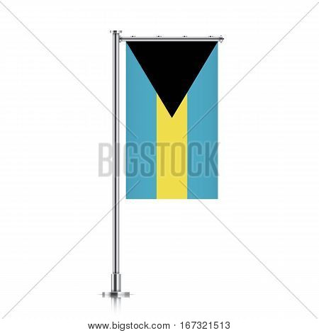 Vector banner flag of Bahama Islands hanging on a silver metallic pole. Vertical Bahamas flag template isolated on a white background.