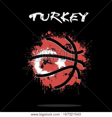 Abstract basketball ball painted in the colors of the Turkey flag. Vector illustration