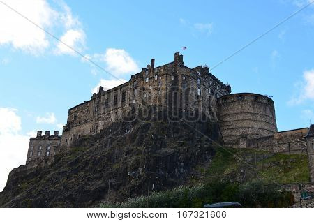 Edinburgh Castle standing on a cliff in Edinburgh Scotland.