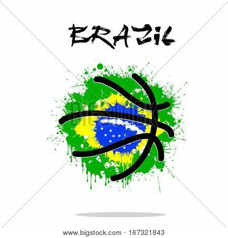 Abstract basketball ball painted in the colors of the Brazil flag. Vector illustration