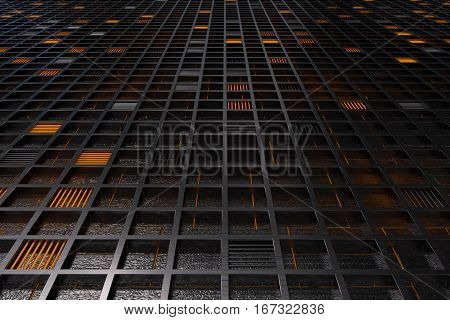 Futuristic Technological Or Industrial Background Made From Brushed Metal Grate With Glowing Lines A