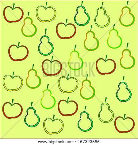 On a yellow background fruit apples and pears with a stroke color of orange, yellow and green with tails