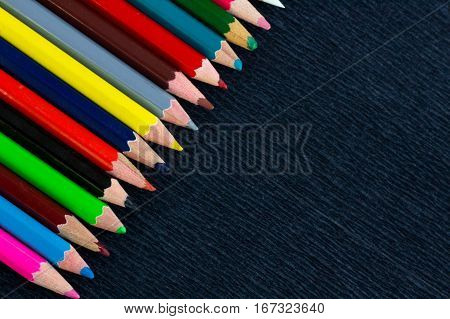 Black Background For Presentation With Colourful Right Upper Pencils Corner