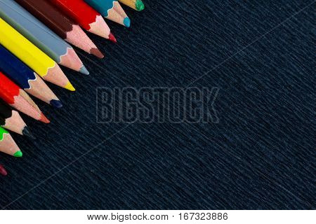 Black Background For Presentations With Colourful Right Upper Pencils Corner