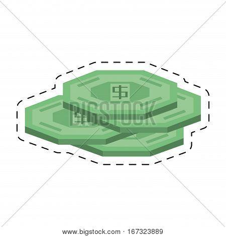 green coins money cash cut line vector illustration eps 10