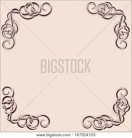 Abstract beige frame with beige monograms in the corners with the brown stroke