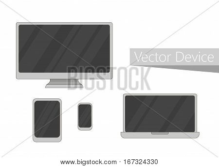 Device mockup template. Set of computer monitor, computer, laptop, phone, tablet isolated. Electronic devices icon. Flat design technology.