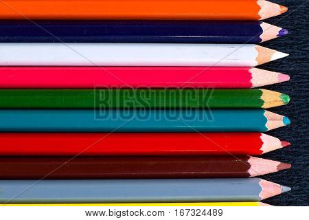 Horizontal Colorful Stripes Of Multicoloured Wooden Pencils Background