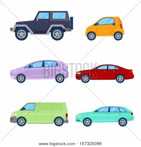 City Cars Icons Set with Sedan, Van and Offroad Vehicle. Vector illustration