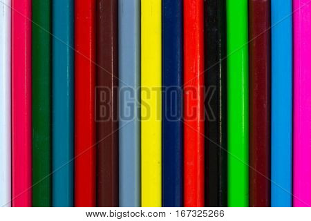 Vertical Colorful Stripes Of Multicolored Wooden Pencils Background