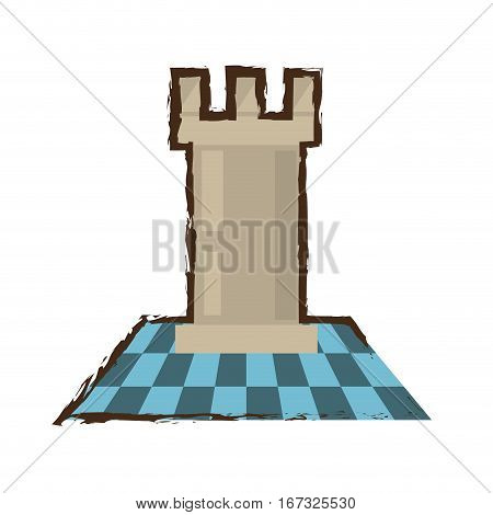 tower castle chess game color sketch vector illustration eps 10
