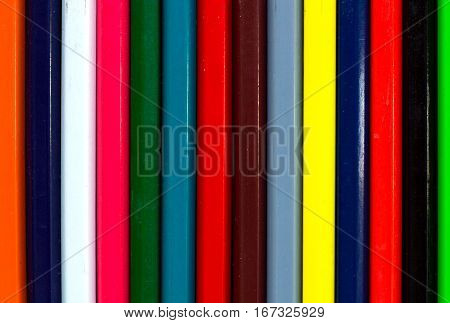 Vertical Colourful Stripes Of Versicolored Wooden Pencils Background