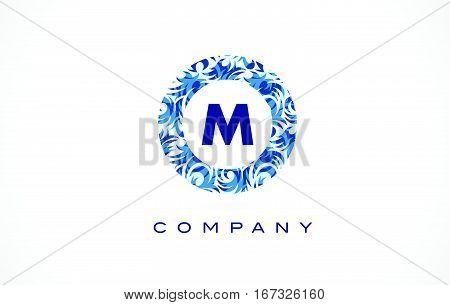 Letter M Blue Pattern Logo Design.