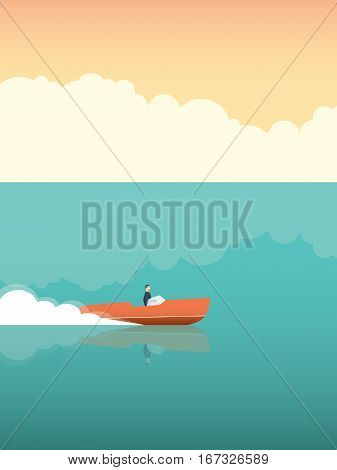 Elegant and rich man riding fast speedboat on the ocean. Vector concept for summer holiday or vacation. Eps10 vector illustration.