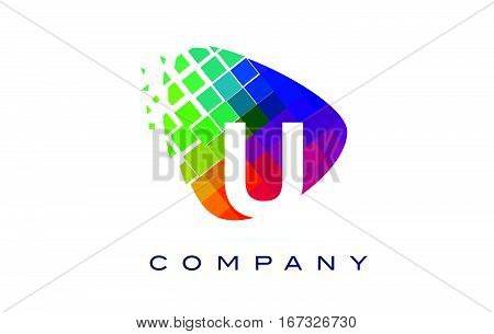 Letter U Colourful Logo. Rainbow U Letter Icon with Shattered Blocks.