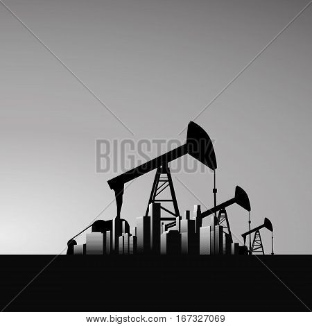 Oil pump jack vector background with corporate business urban skyline with skyscrapers. Ecology, environmental vector with dark colors. Eps10 vector illustration.