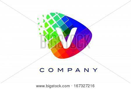 Letter V Colourful Logo. Rainbow V Letter Icon with Shattered Blocks.