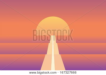 Endless road in sunset abstract vector illustration. Material and modern retro design with sun and bright orange color. Eps10 vector illustration.