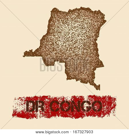 Dr Congo Distressed Map. Grunge Patriotic Poster With Textured Country Ink Stamp And Roller Paint Ma