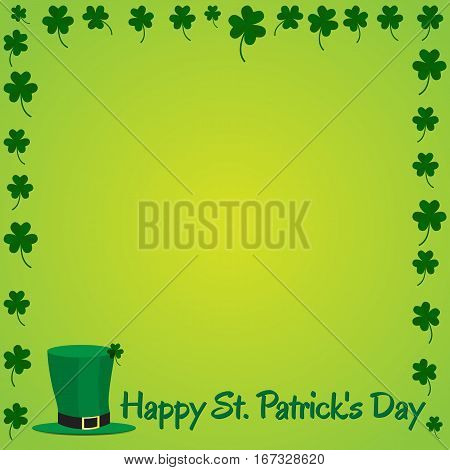 Leprechaun hat with shamrock on green background. Picture ready for use in St. Patrick holiday thematic