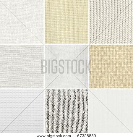 Set of diferent fabric texture on white background