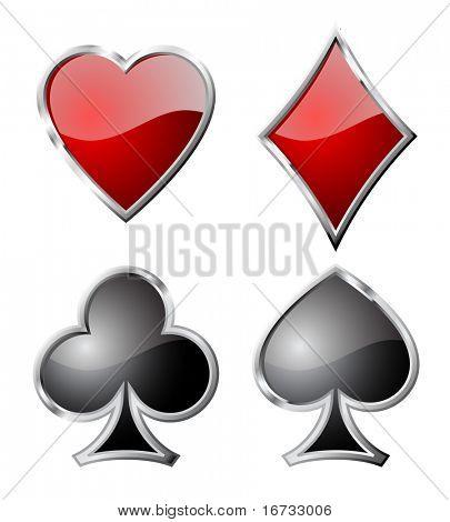 Playing card set symbols isolated on white background.