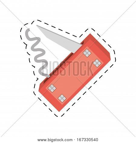 swiss knife multi functional tool cut line vector illustration eps 10