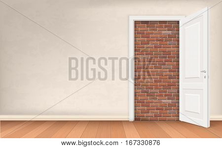 Opened door in stucco wall blocked brick. Vector concept illustration about exit of a difficult situation. Solution to the problem.