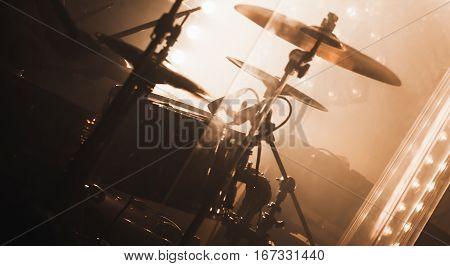 Live Music Photo Background, Rock Drum Set
