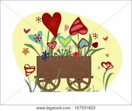 Flower arrangement from blooming hearts in the handmade cart. Illustration symbolizing joy, love and happiness. Perfect for greeting card, greeting with Valentine's day. Horizontal location. Vector.