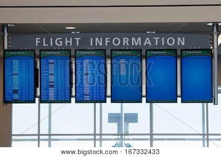 Atlanta Georgia USA - October 13 2016: Flight information monitors in Hartsfield-Jackson Atlanta International Airport.