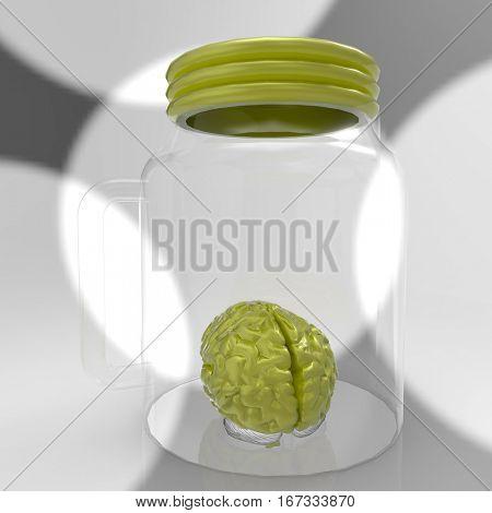 Human brain in a glass jar 3d rendering