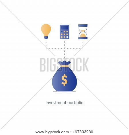 Compound interest, time is money, added value, financial investments in stock market, future income growth concept, revenue increase, money return, pension fund plan, budget management, savings account, banking vector illustration icon