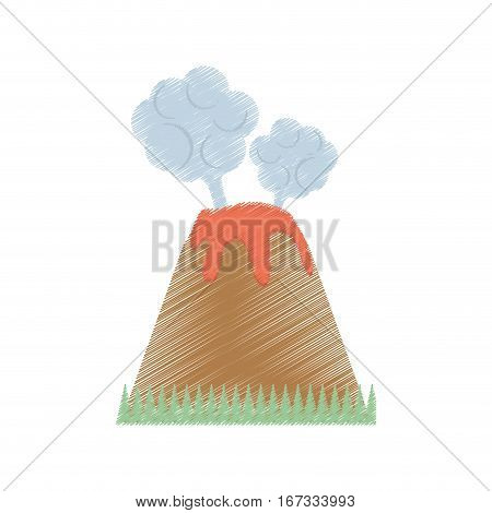 drawing volcan eruption lava mountain cloud vector illustration eps 10