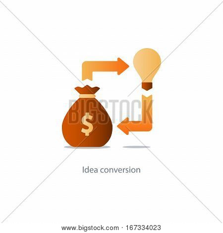 Investment idea, financial concept, start up fund, light bulb icon, business solution, vector illustration