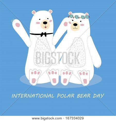 International polar bear day. A pair of polar bears on a blue background. Poster banner Billboard. Vector illustration.