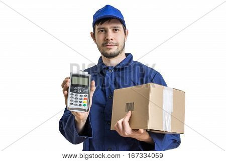 Shipment And Package Delivery Concept. Young Man Holds Cardboard